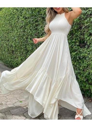 BLACK&GRACE Bayan Yeşil  Full Gıpelı Altı Capraz Elbise Beyaz